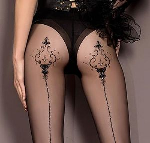 Luxury Black Patterned Tights with Lurex Seams Ballerina 410